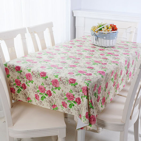 PVC Table Cloth Plastic Waterproof Oil Dining Tablecloth Flower Rose Printed Rectangle Table Cover Overlay Table Cloths 02(China (Mainland))
