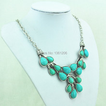 N18 Green Turquoise Stone Natural Stone Necklace Pendant Jewlery Women ,Vintage Look,Tibet Alloy, free shipping, wholesaler