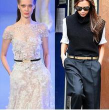 2016 Hot Fashion Metal Buckle Women's Pigskin Leather /PU Thin Belt Waistband Female Straps Ladies Cummerbund Free Shipping