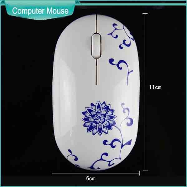 traditional cultural style mouse wireless with strong Chinese blue and white porcelain led light at bottom free driver(China (Mainland))