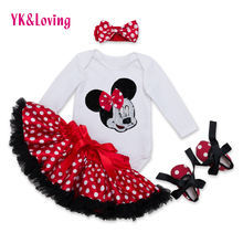 Buy Cotton Fashion Baby Girl Clothes Sets white Long Sleeve Romper Dot Tutu Skirts Bow Headband Shoes Infant Clothing 0-2 years for $12.68 in AliExpress store