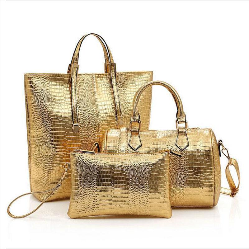 PU Leather Shoulder Bags Buy 3 Pcs Alligator Composite Bag Gold Black Girls Crossbody Bag+Girl Messenger Bag+Purse 3 Set(China (Mainland))