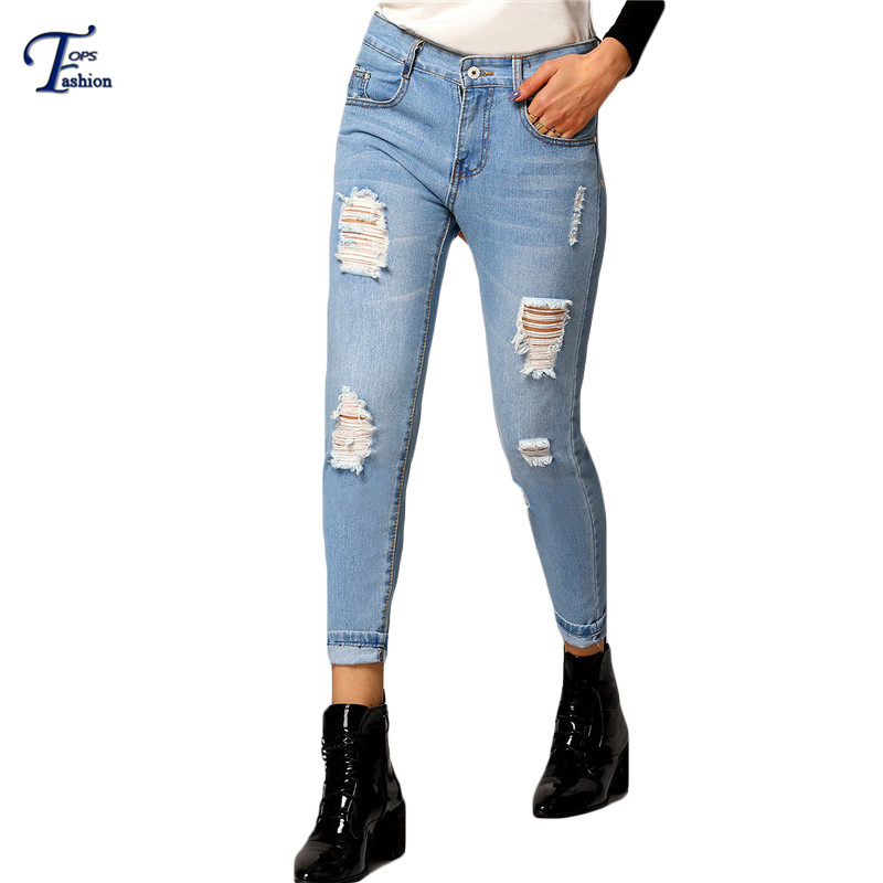 Blue Ripped With Pockets Denim Pants 2016 Spring Latest Womens Boyfriend Mid Waist Button Fly Slim Ankle Length Jeans(China (Mainland))