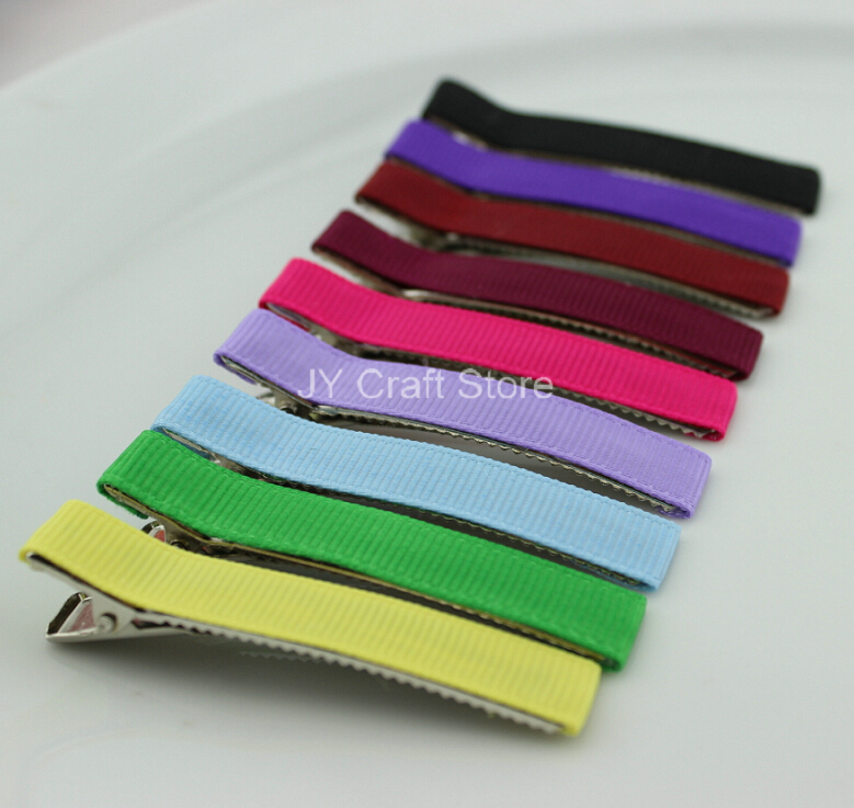50pcs/lot 60mm assorted colors Grosgrain Ribbon Hair Clips Prong Alligator clip Lined Clip Hair bow Supplies Free Shipping(China (Mainland))