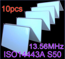 10pcs/Lot RFID Card 13.56Mhz ISO14443A MF S50 Re-writable Proximity Smart Card NFC Card 0.8mm Thin For Access Control System(China (Mainland))