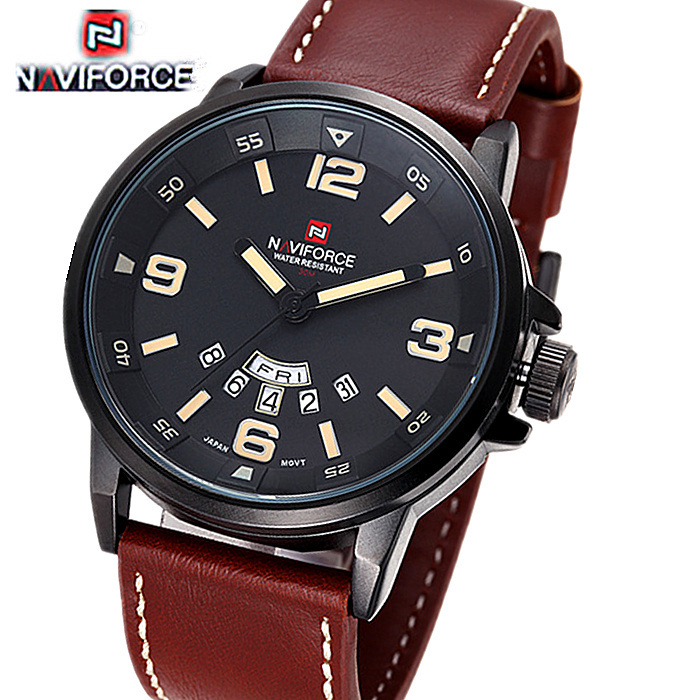 Гаджет  2015 Brand NAVIFORCE Watches men Casual Quartz reloj Leather wristwatch Army Military Dive 30m men