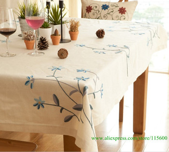 Cotton and linen hand-embroidered tablecloth with size 110*160cm,7 size in stock,home decoration,free shipping