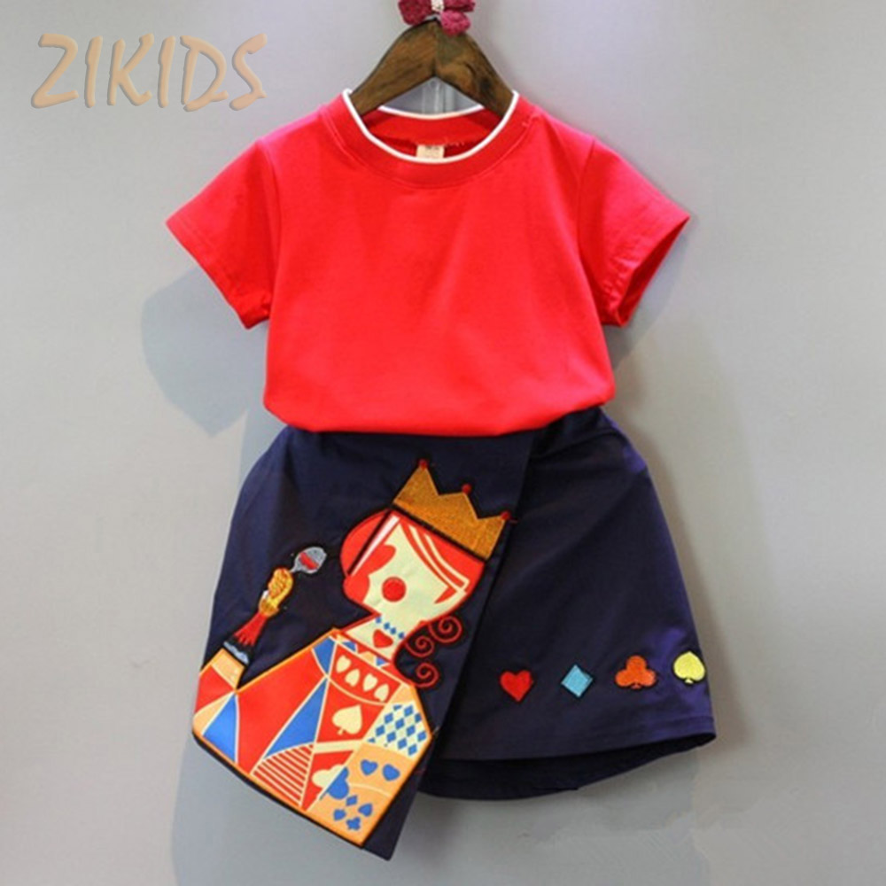 Kids Girl Clothes Set Casual Summer Red T-shirts+Playing Cards Queen Skirts Girls Clothing Sets Children Suits Brands 2016 Sale(China (Mainland))
