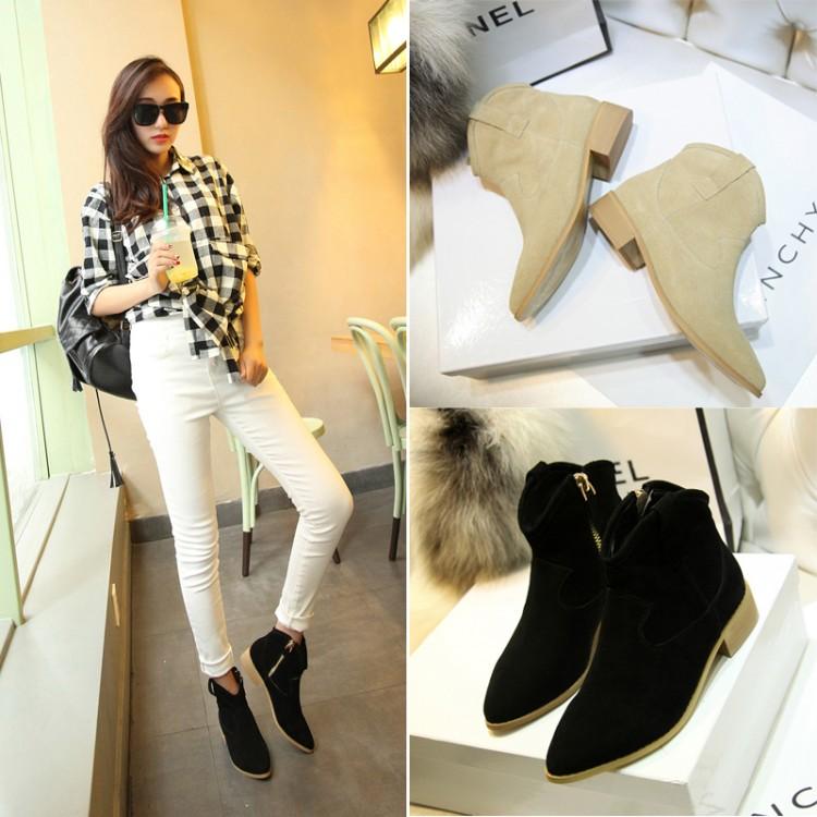 2014 women's martin shoes single boots thick heel boots nubuck cowhide fashion(China (Mainland))