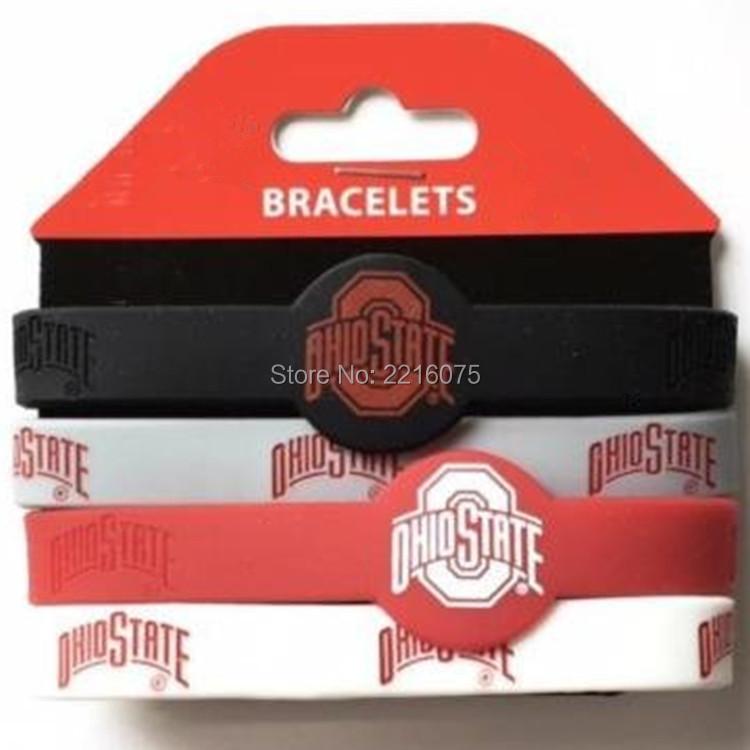 300pcs NCAA football Ohio State Buckeyes wristband silicone bracelets free shipping by FEDEX express(China (Mainland))
