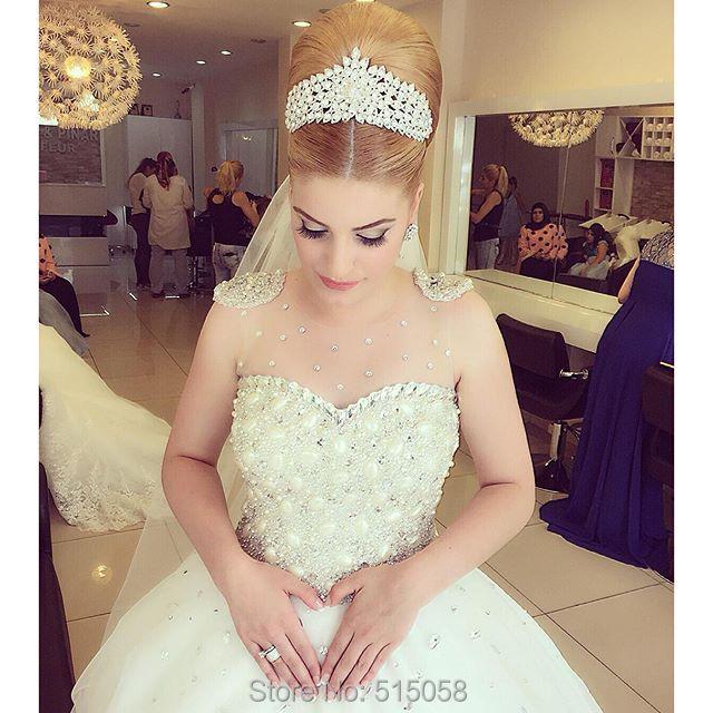 elegant crystal beaded bling bling wedding dresses