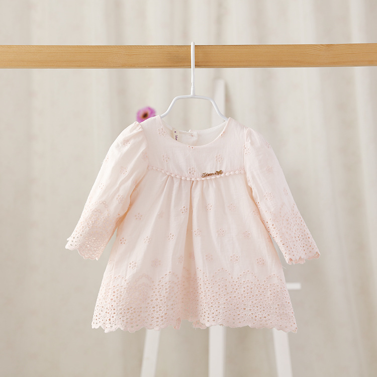 IDEA 2016 spring Baby infant princess dress girl fashion cute flower dress long sleeved girls newborn clothing wholesale(China (Mainland))