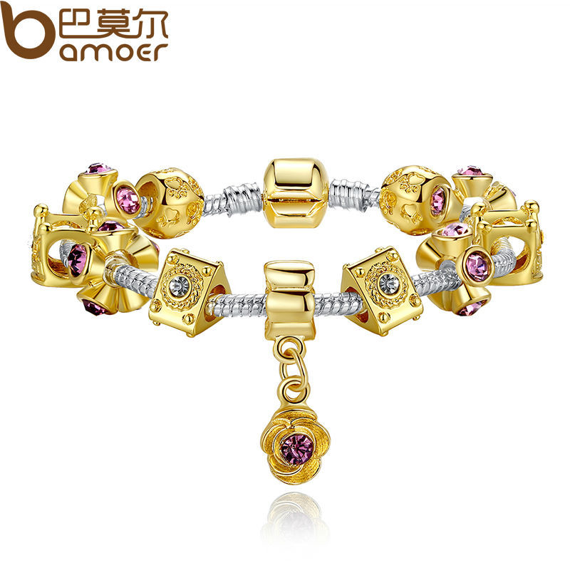 Bamoer 14K Gold Plated Crown Charm Fit Pandora Bracelet for Women With Murano Glass Beads PA1429(China (Mainland))