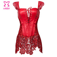 Red Faux Leather&Lace Gothic Corpetes E Espartilhos Plus Size Sexy Lingerie Corset Burlesque Dress Steampunk Clothing Women 6XL