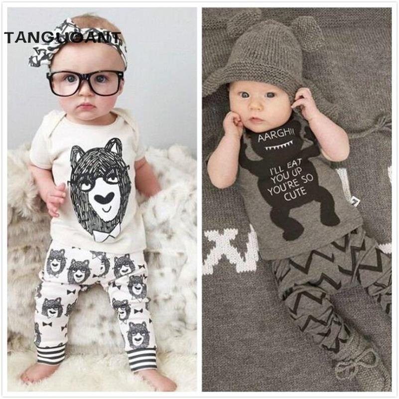 TANGUOANT New 2017 summer style Cotton little monsters short sleeve infant clothes 2 pcs baby clothing sets baby boy clothes(China (Mainland))