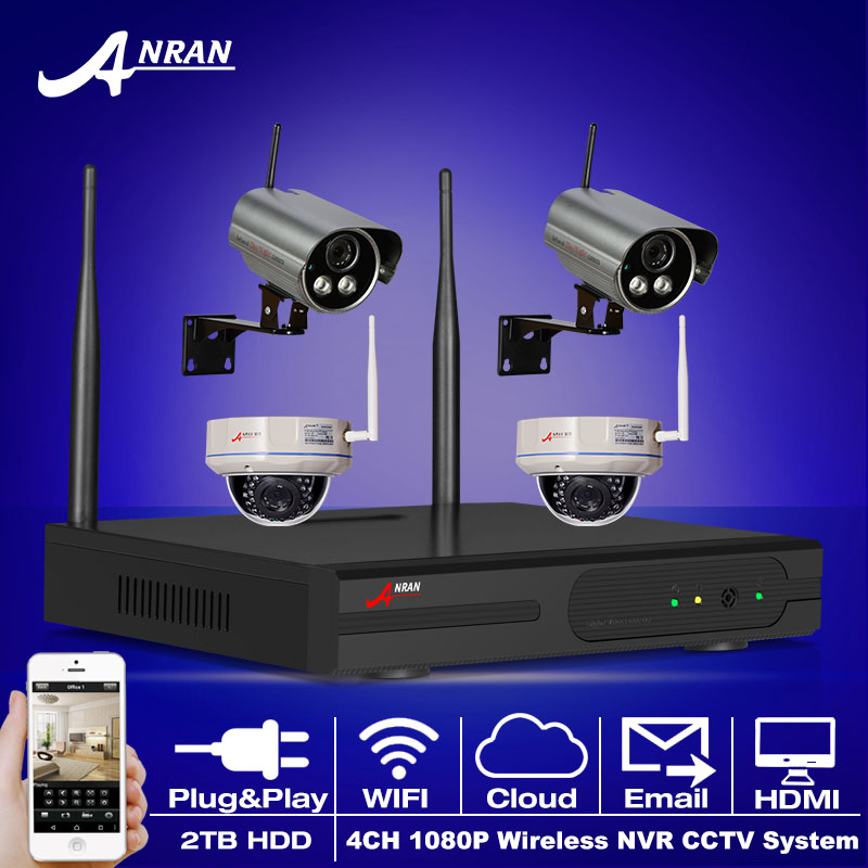 WIFI 4CH HDMI NVR CCTV System 2TB HDD 1080P 2.0 Megapixels IR Indoor Outdoor Security IP Camera Wireless Surveillance Kit(China (Mainland))