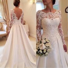 2015 Elegant Vestido De Renda Lace Long Sleeve Wedding Dress Open Back A Line Bridal Gowns Plus Size Satin W3816(China (Mainland))