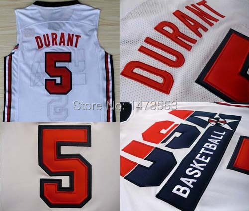 1992 Olympic Game American Dream Team #5 Durant Men's Basketball Jersey, Kevin Durant USA Jersey, Embroidery Name Number S-XXXL(China (Mainland))