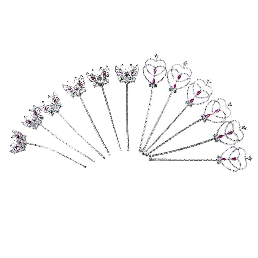 12pcs Glitter Silver Fairy Angel Butterfly Heart Wands Children Girl Fancy Dress Princess Wands Cosplay Costume Accessories