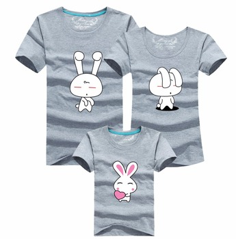 2015 summer style cartoon rabbit t-shirt babymmclothes matching mother daughter father clothes family look clothing roupas