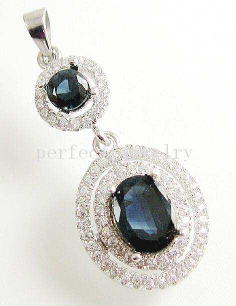 Sapphire pendant Natural sapphire charm pendants 925 sterling silver Blue gems Fine gem #15042301