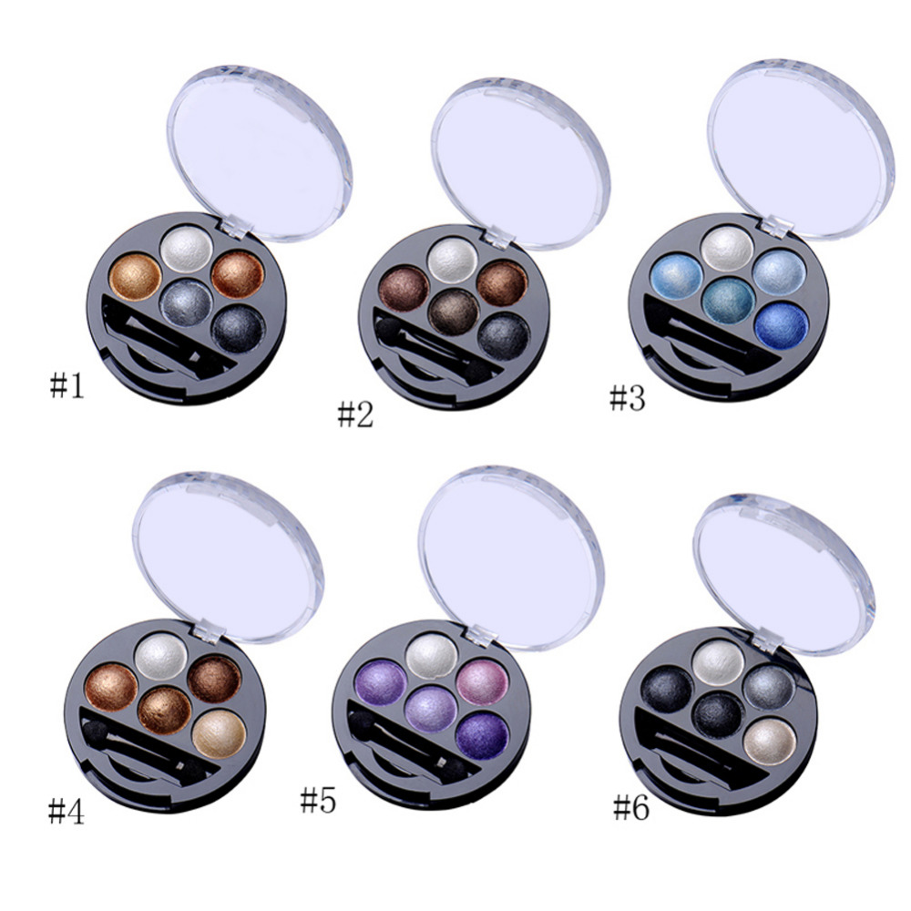 New 5 Colors Baked Eyeshadow Eye Shadow Powder Metallic Shimmer Warm Color Shadow Palette With Eyeshadow Brush(China (Mainland))