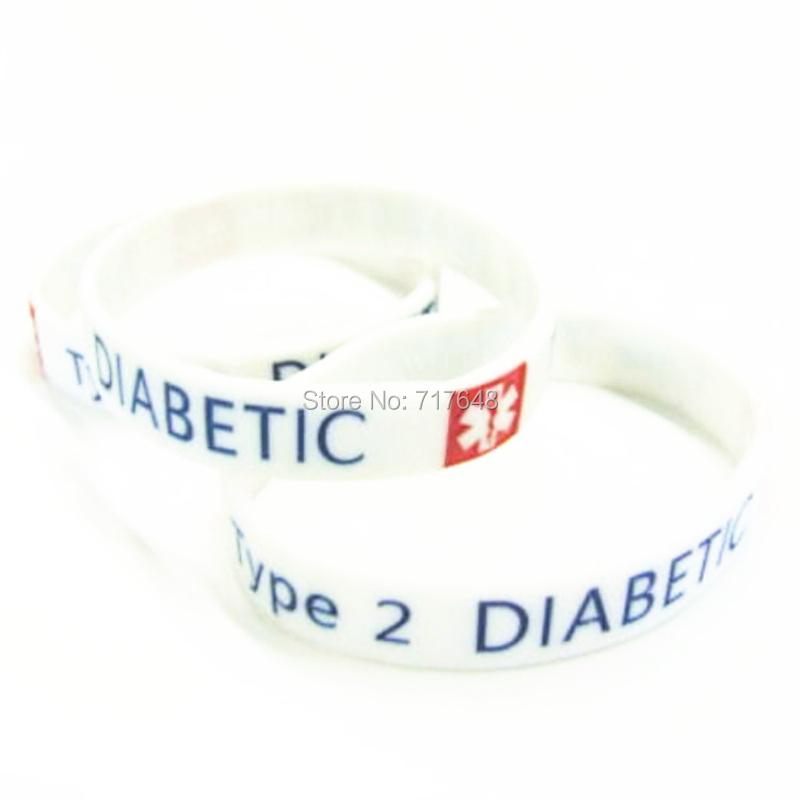 300pcs type 2 diabetes wristband silicone bracelets rubber cuff wrist bands bangle free shipping by FEDEX express(China (Mainland))
