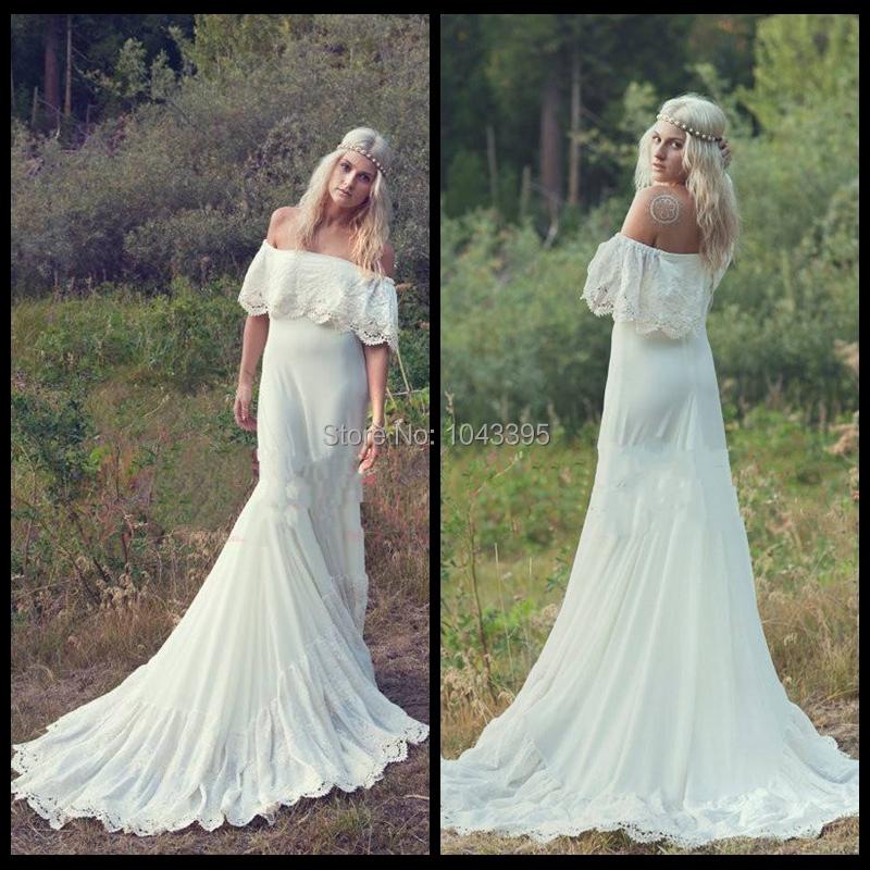 2014 Bohemian Wedding Dresses Hippie Bohemian Bridal Dress