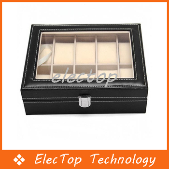 Fashion PU Leather 10 Grid Watch Box Display Box Storage Box Jewelry Box 10pcs/lot Wholesale