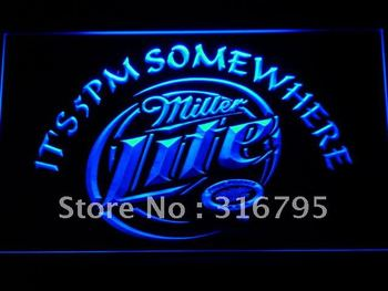 407-b Miller Lite It's 5 pm Somewhere LED Neon Light Sign