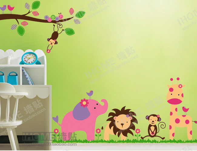 Diy jungle animal party wall stickers home decoration love for Baby room decoration wallpaper