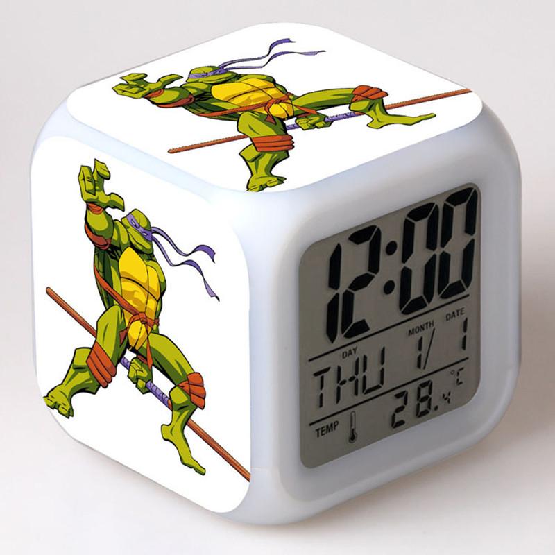 Espana/Spain Teenage Mutant Ninja Turtles reloj pertador LED 7 Color Flash Digital Alarm Clock Watch 2*AG13 Battery+USB Charger(China (Mainland))