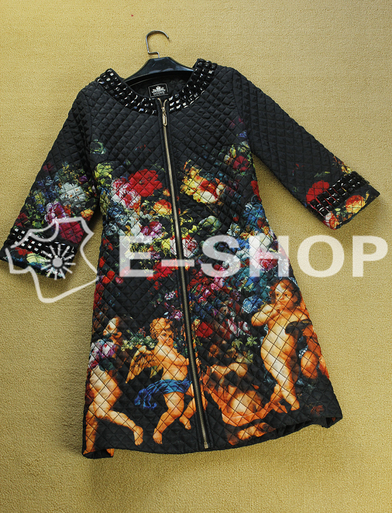 European Fashion Top Grade 2013 Autumn Winter Vintage Print Cotton Coats Women