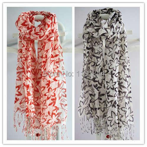 185*55cm +2x10cm fringe natural linen floral flower print 2016 new high quality fashion women Scarf red black 4 seasons scarf(China (Mainland))