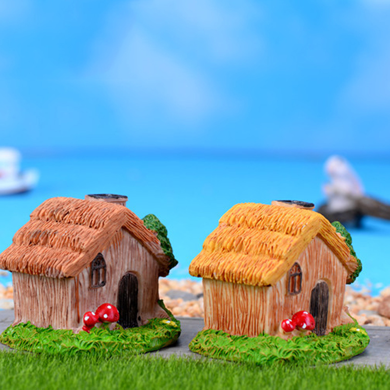 2pcs resin wooden house gnomes garden decor bonsai craft for Wooden garden ornaments and accessories