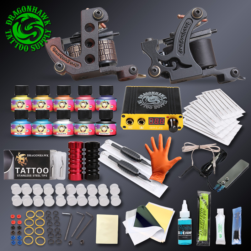 Professional Complete Tattoo Kits Set Tattoo Machine Power Supply 2 guns Immortal Color Inks Tattoo Supplies(China (Mainland))
