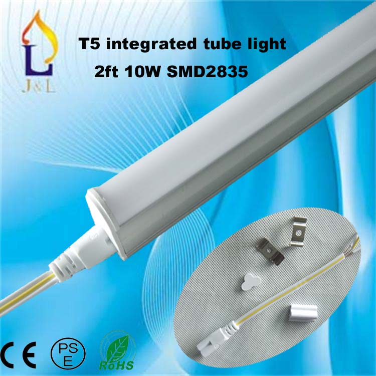 FedEX Free shipping integrated 50pcs/lot 10W 600MM T5 LED led light tube lamp SMD2835 48led/PC(China (Mainland))