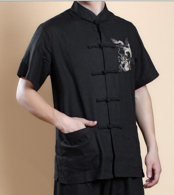 Черный китайских людей вин чунь кунг-фу верхней части рубашки с коротким рукавом ...