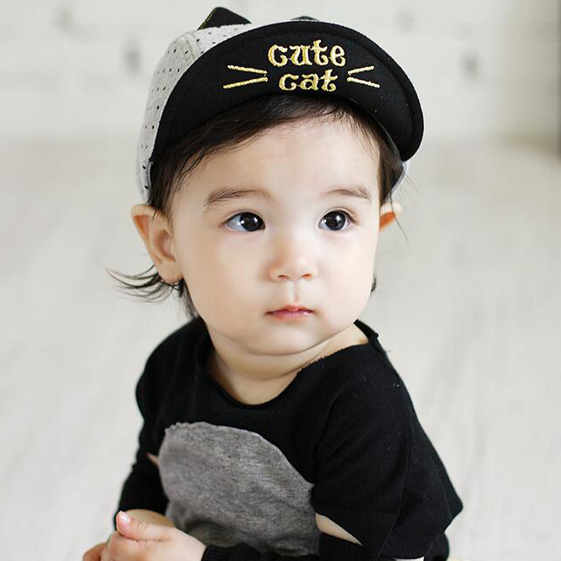 Fashion  Baby cap New Lovely Cute Cat Baby Boy Toodler Infant Dot Cotton Cap Cat Baby Beanies Accessories