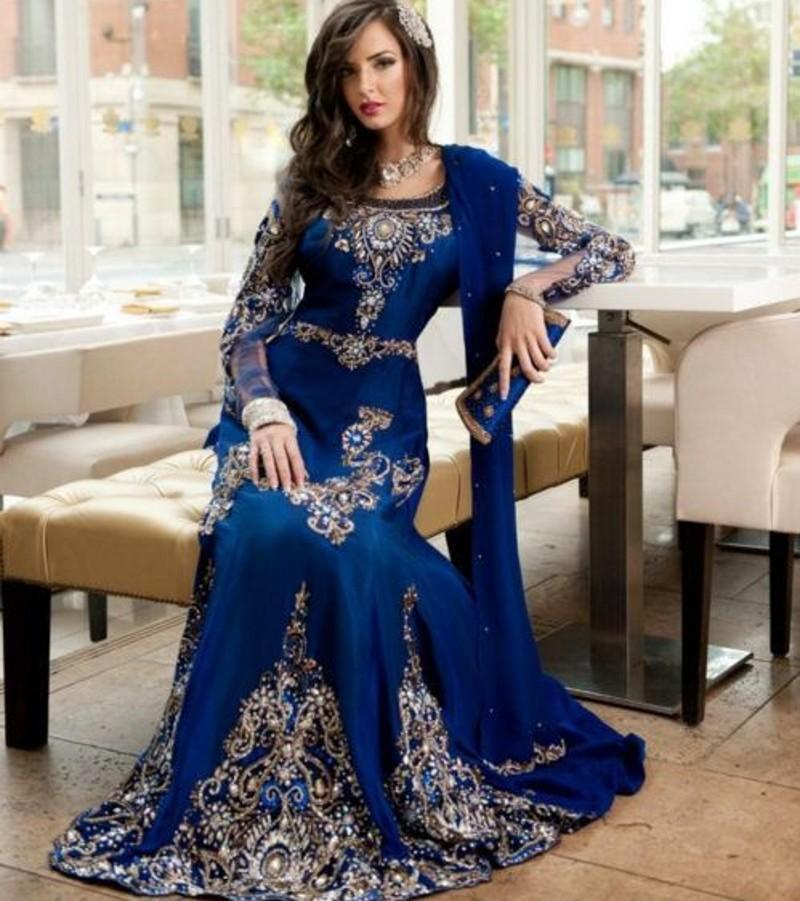 Arabic Kaftan Royal Blue Classic Evening Dresses Abaya Robe Dubai Long Elegant Gowns Beading Appliques Sheer Sleeves Prom Dress(China (Mainland))