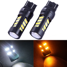Buy 2PCS T25 7443 2835 42 SMD White/Amber 12V Car Dual Color Switchback Reverse Turn Signal Light Rear Lamps Parking Lights LED Bulb for $11.50 in AliExpress store