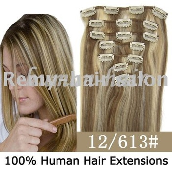 15inch/18inch/20inch/22inch Clip remy hair extension #12/613 mixed color 70gram 80gram