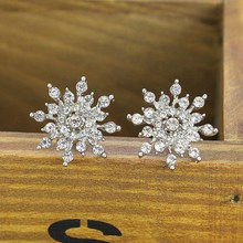 2016 New!!! Ladies Crystal Snow Flake Bijoux Statement Stud Earrings For Women Earring Fashion Jewelry Free Shipping(China (Mainland))