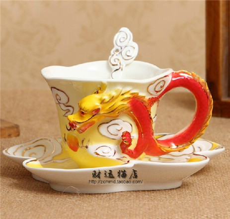 200ml Fine Bone China Porcelain Drinking European Enamel Creative Tea Cup The Dragon Franc Hand painted Mug Set Free Shipping(China (Mainland))