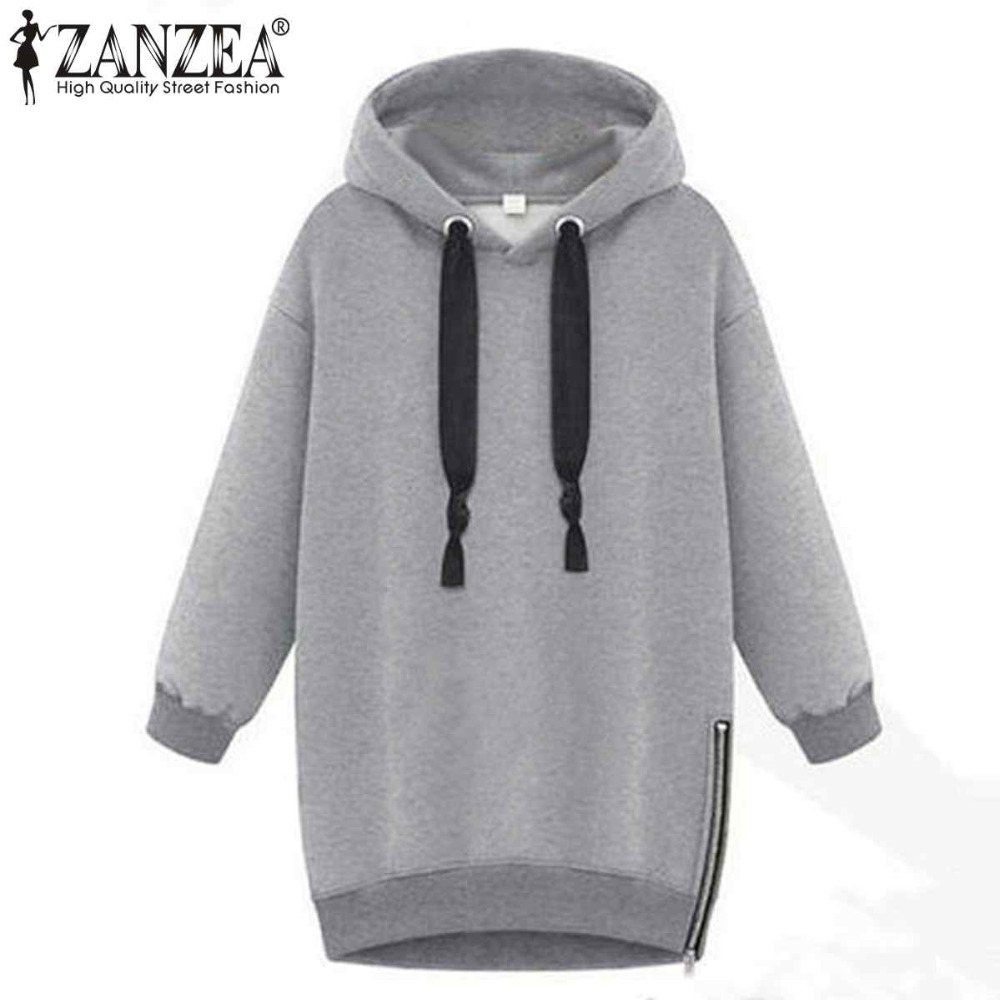 Winter Autumn 2016 Zanzea Fashion Women Long Sleeve Hooded Jacket Loose Warm Sport Hoodies Solid Sweatshirt