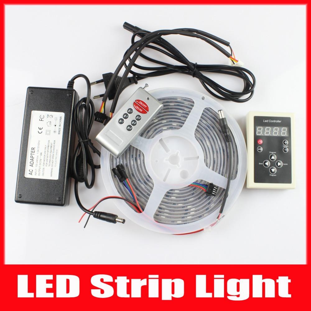 MIYOLE 5M Digital RGB LED Strip WS2801 32 Pixel/m 5V Black PCB Wtaerproof IP67 + RGB 133 RF Controller + 8A Adapter(China (Mainland))