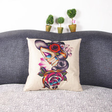 baby support pillow Vintage Skull Cushion Cotton Linen Throw Pillow Sofa Cover Case Home Decor  VBB02 P1410(China (Mainland))