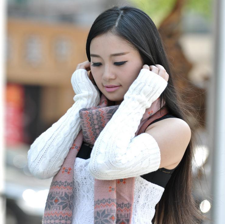 fashion hand knitted half fingers warmer long gloves women,female arm warmers - YiWu LianJin first Store store