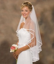 In Stock White And Ivory Ribbon Edge Two-Layer Tulle Wedding Bridal Veil Wedding Accessories(China (Mainland))