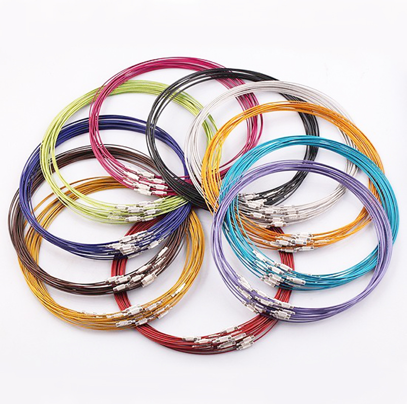 "10pcs/lot 46cm multicolor mixed silver Stainless Steel 18"" screw choker Necklace Wire Cord For DIY necklaces(China (Mainland))"